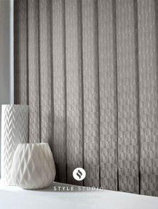 grey patterned vertical blinds