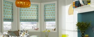 roman blinds in seating area