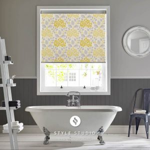 grey and yellow flower roller blinds
