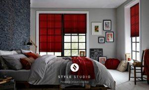 red blinds for bedroom