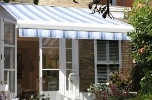 purple, white and blue awning