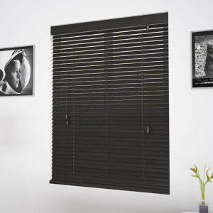 black faux wooden blinds