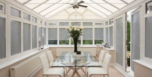 grey conservatory shutters