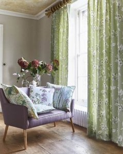 green and white floral curtains
