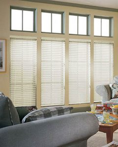 wooden blinds in living room