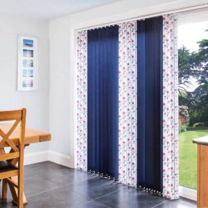 patterned vertical blinds on sliding doors