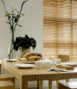 wooden blinds in dining room