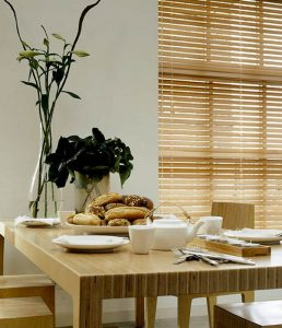 faux wooden venetian blinds for the kitchen