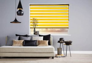 yellow and clear roller blinds