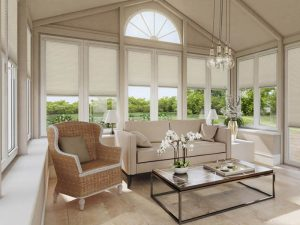 Cream conservatory blinds